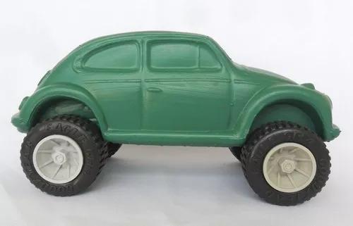 Fusca carrinho carro verde plástico bolha brinquedo antigo