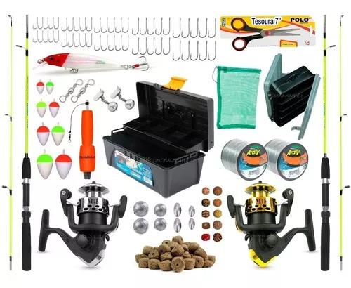 Kit de pesca barato 2 varas 2 molinetes + caixa e