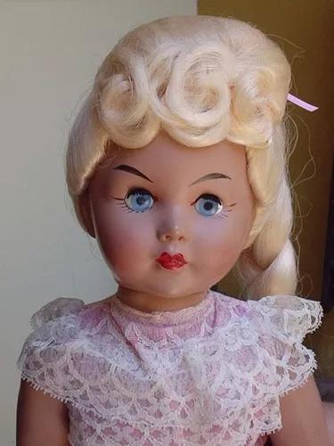 Linda boneca menina massa brinquedo antigo estrela anos 40