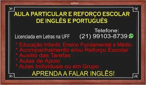 Aula particular e reforço escolar de inglês e português