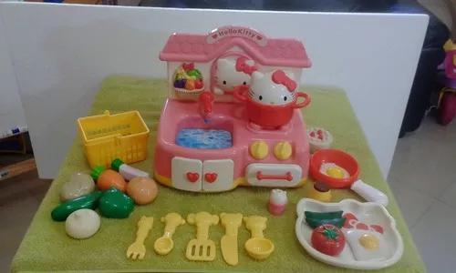 Brinquedo antigo raro cozinha fogão pia hello kitty casinha