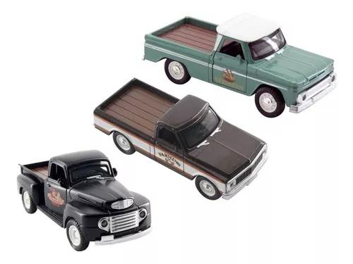 Kit 3 carrinhos miniaturas camionetes antigas old school