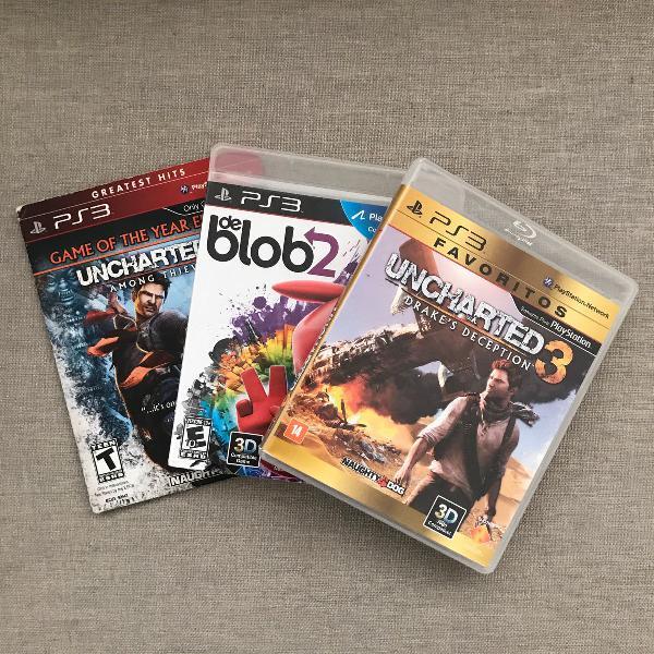 Videogame ps3 edição especial azul + 4 jogos