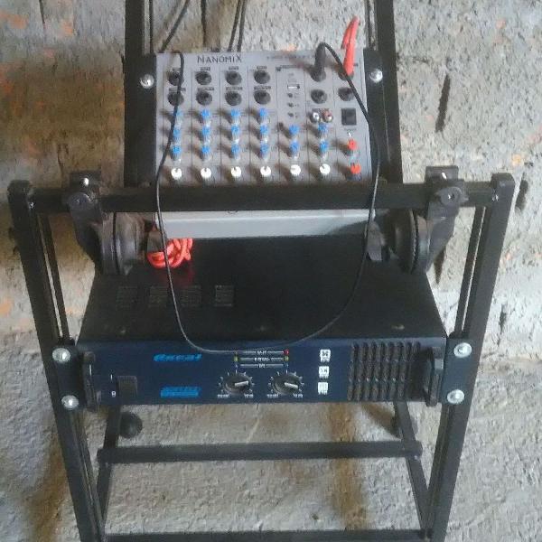 Som completo - mesa + potência + caixas + rack + pedestais