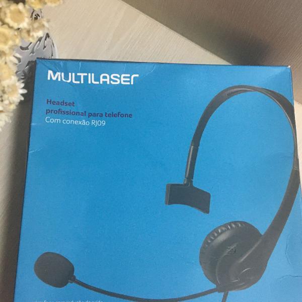 Headset com conector rj09 p/ telemarketing multilaser
