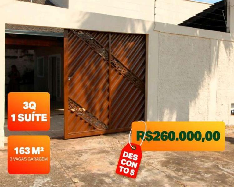 Casa à venda possui 163,36 m2, 3 quartos, 1suite, Jardim