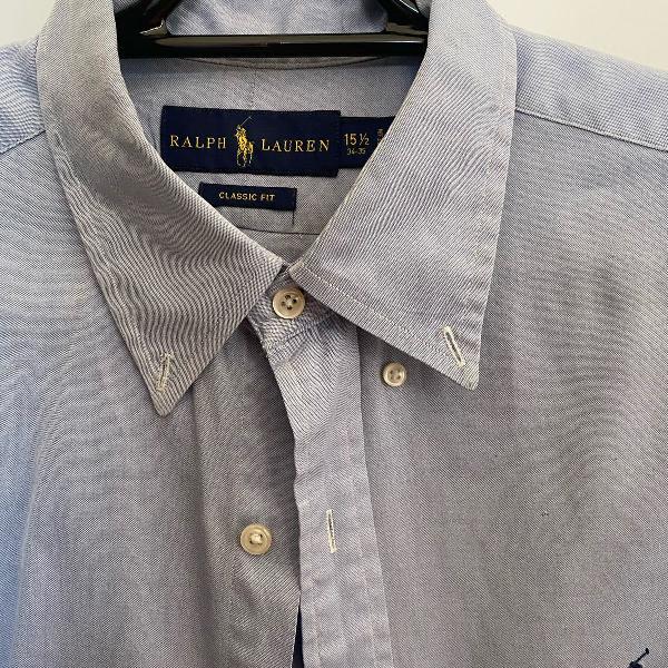 Camisa social polo ralph lauren azul clara
