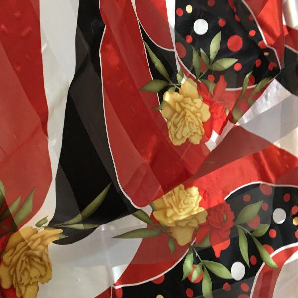 Lenço de cetim floral viva a espanha