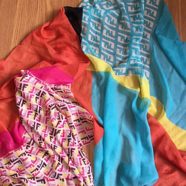 Lenço fendi verão colorido pashimina crepe de seda