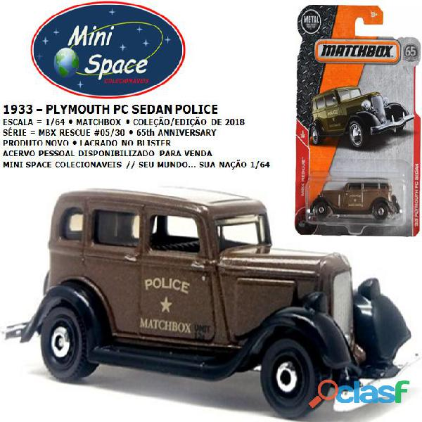 Matchbox 1933 phymouth pc sedan depto polícia 1/64