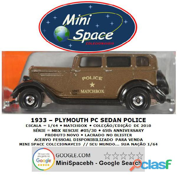 Matchbox 1933 Phymouth Pc Sedan Depto Polícia 1/64 2