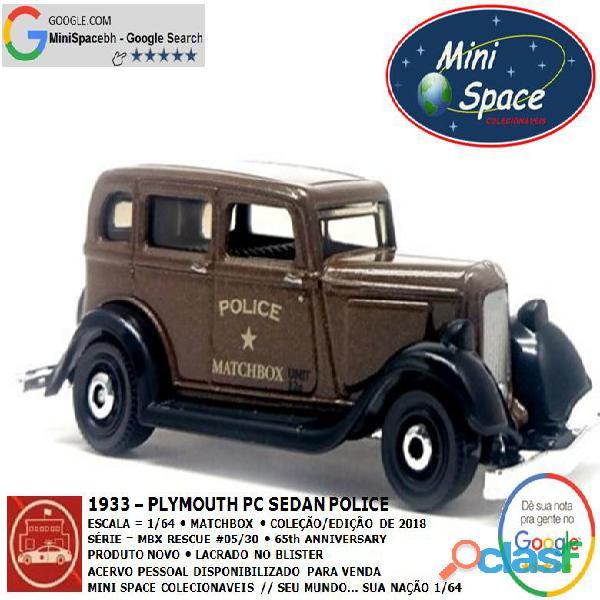 Matchbox 1933 Phymouth Pc Sedan Depto Polícia 1/64 3