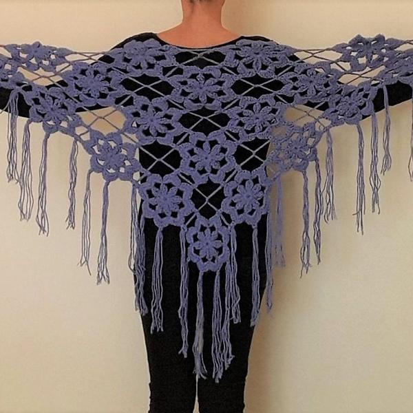 xale roxo lilás artesanal de crochê feito a mão