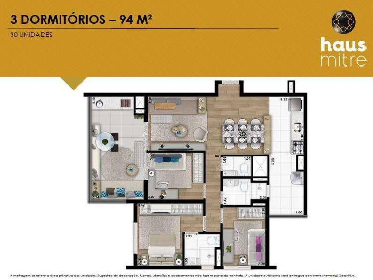 Apartamento na planta - 94 m2 - 3 quartos e 2 vagas na vila