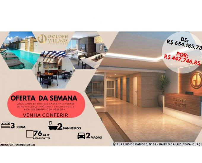 Golden Village,3 qts, Suíte, 76m² Próx. Shopping Nova