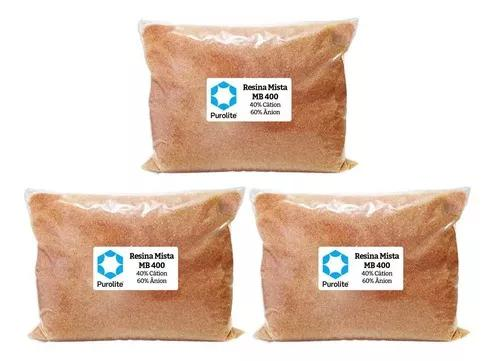 Kit 3 resina mista purolite mb400 filtro deionizador osmose