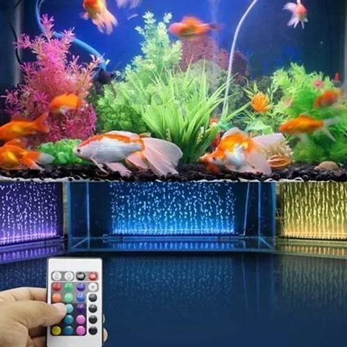 Luminária aquário cortina bolha led rgb 46cm controle