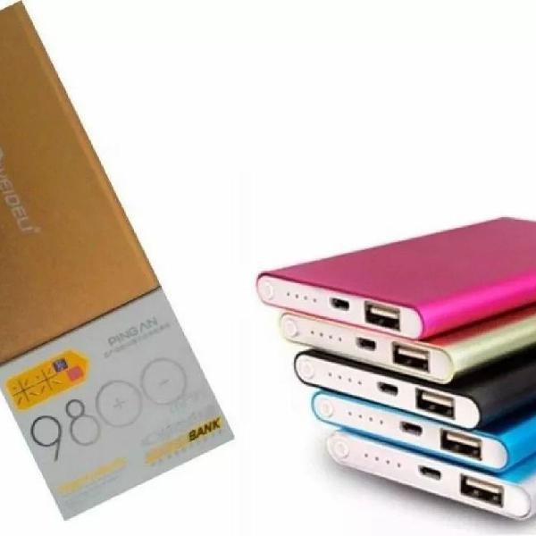 Power bank mini ultra slim 9800mah bateria extra celular