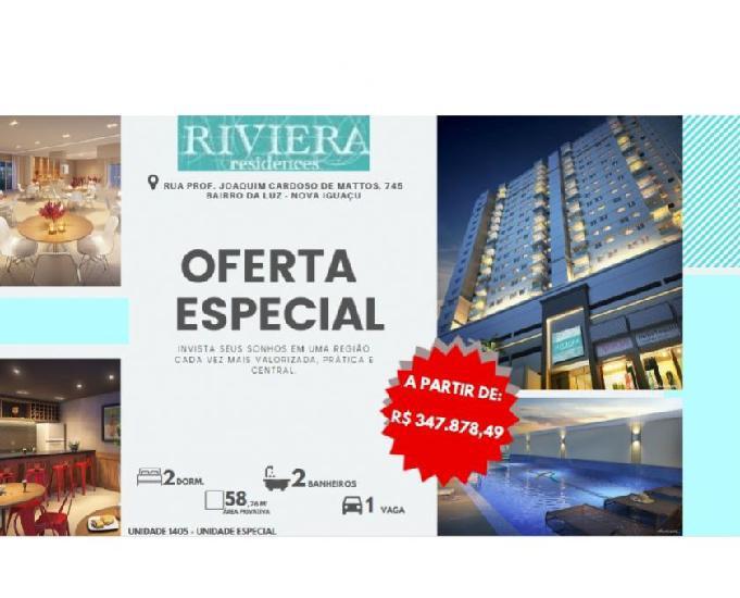 Riviera residences, 2qts, suíte, vaga. da luz, nova iguaçu