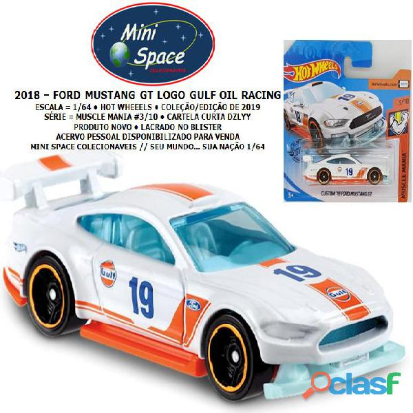 Hot wheels 2018 ford mustang gt branco gulf oil racing 1/64