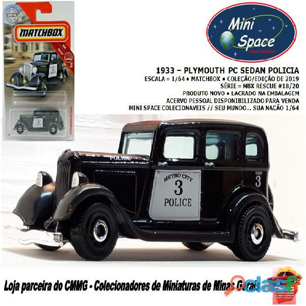 Matchbox 1933 phymouth pc sedan preto depto polícia 1/64