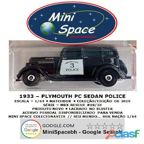 Matchbox 1933 Phymouth Pc Sedan Preto Depto Polícia 1/64 8
