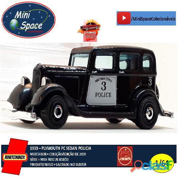 Matchbox 1933 Phymouth Pc Sedan Preto Depto Polícia 1/64 7