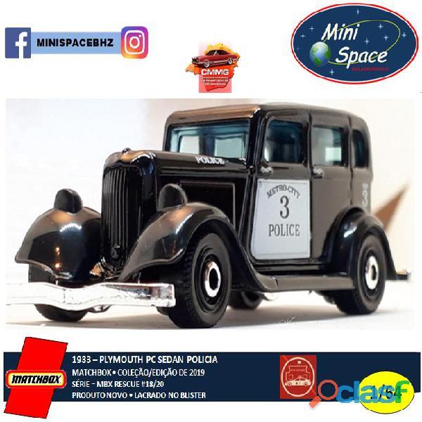 Matchbox 1933 Phymouth Pc Sedan Preto Depto Polícia 1/64 6