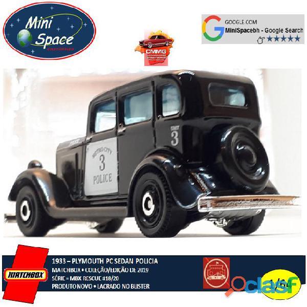 Matchbox 1933 Phymouth Pc Sedan Preto Depto Polícia 1/64 5