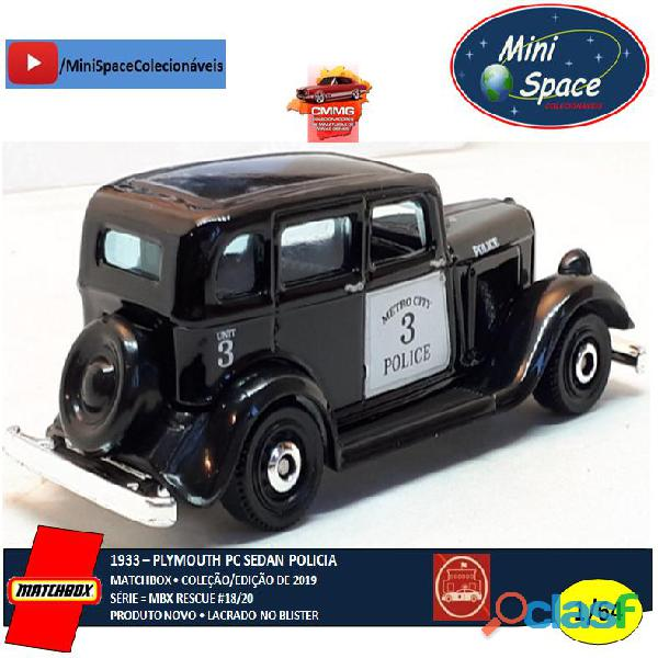 Matchbox 1933 Phymouth Pc Sedan Preto Depto Polícia 1/64 4