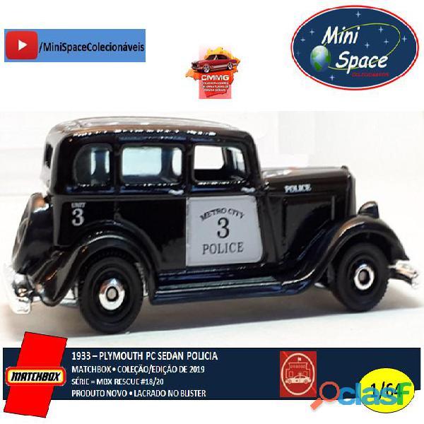 Matchbox 1933 Phymouth Pc Sedan Preto Depto Polícia 1/64 3