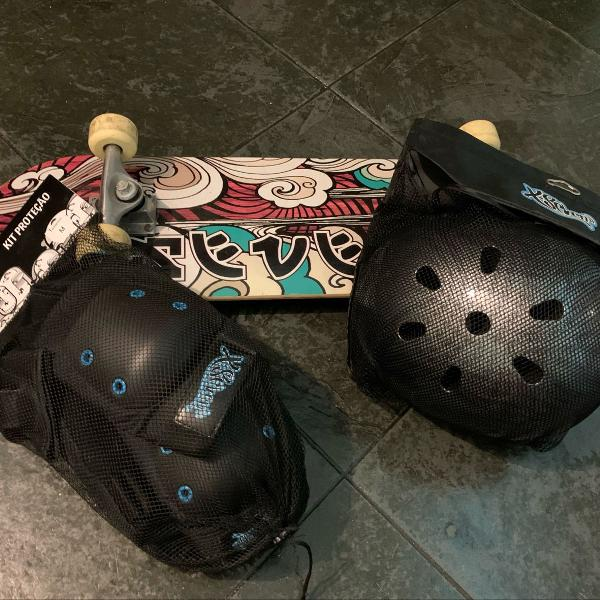 Novo* skate + capacete + kit proteção!