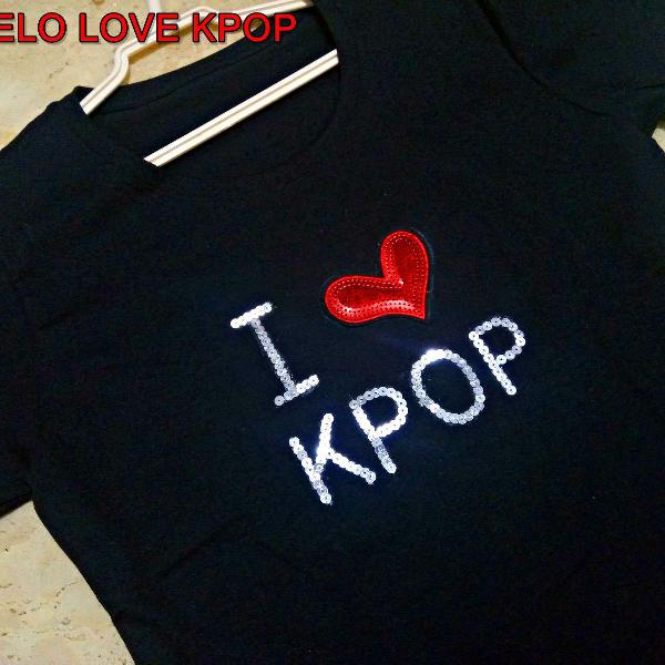 Camiseta nova i love kpop paetes artesanal 100% algodão