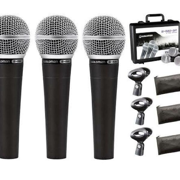 Kit com 3 microfone com fio