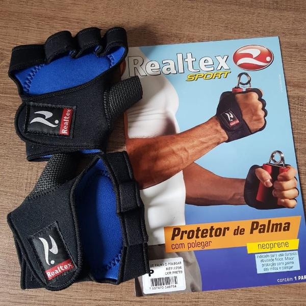 Luva para academia / protetor de palma realtex