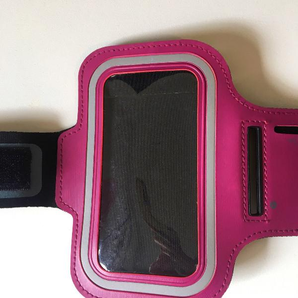 Porta celular para corrida rosa