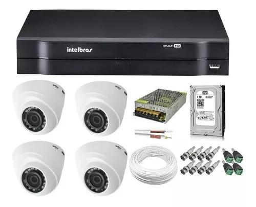 Black friday kit cftv 4 câmeras dome intelbras dvr mhdx1104