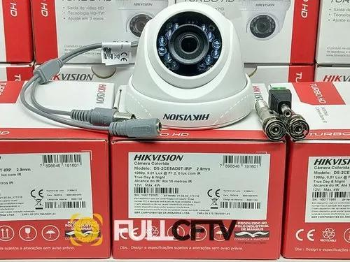 Camera dome hikvision 2megas 1080p lente 2,8 mm + brinde