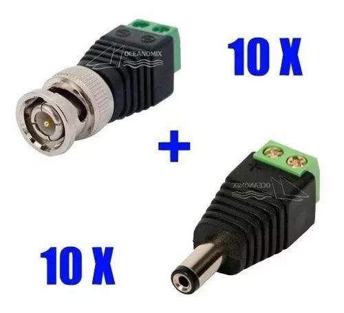Kit 10 conector p4 macho borne + 10 bnc macho borne cftv