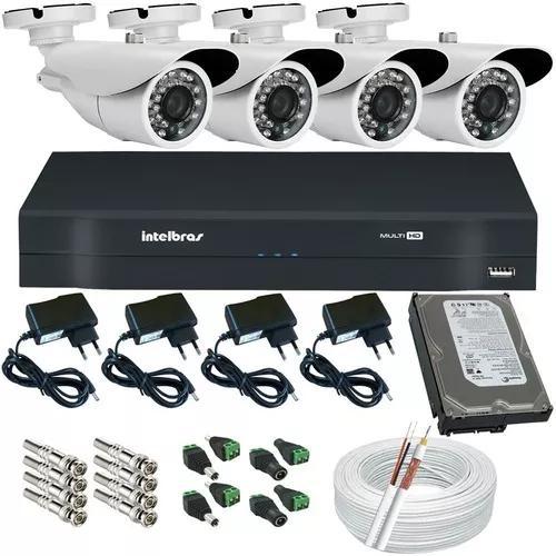 Kit 4 Câmeras Segurança Infravermelho Dvr Intelbras Multi
