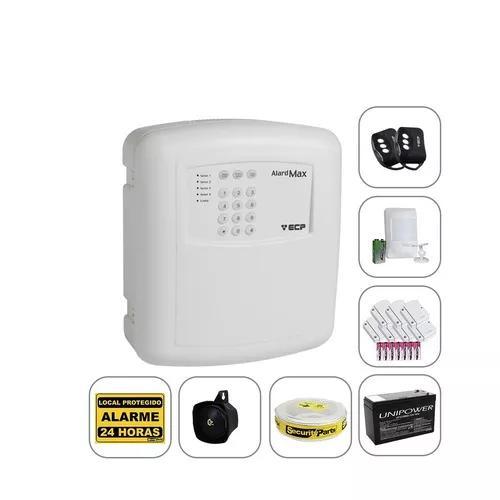 Kit alarme residencial casa comercial ecp s/ fio com bateria