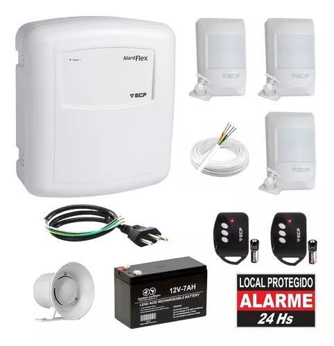 Kit alarme residencial com fio ecp 3 sensores presença