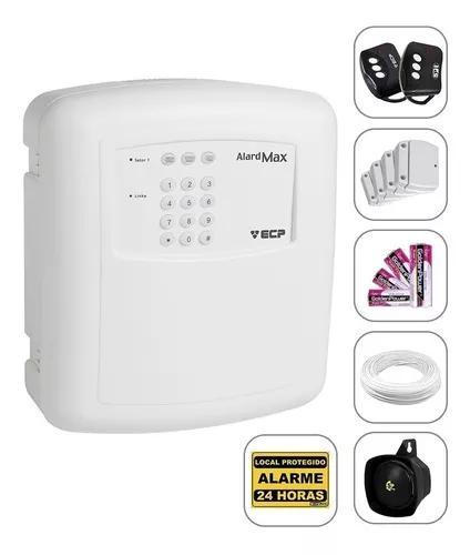 Kit alarme residencial e com. ecp 4 sensores + discadora