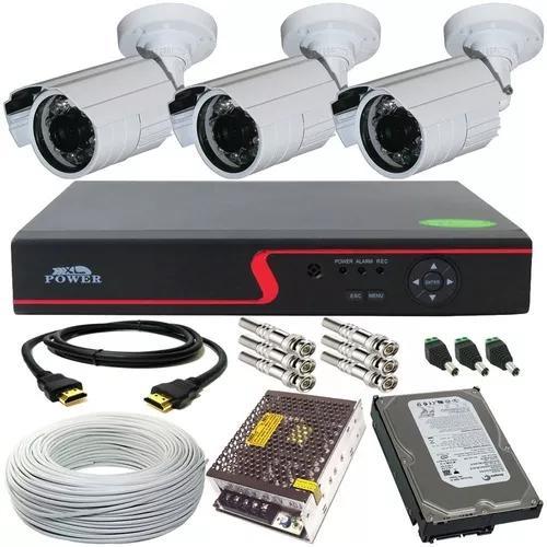 Kit cftv 3 câmeras segurança infra 30m 720p dvr 4ch multi