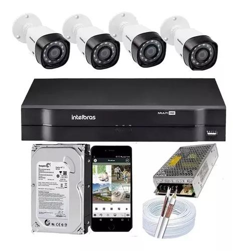 Kit cftv 4 câmeras 1220 full hd 2mp dvr intelbras mhdx 1104