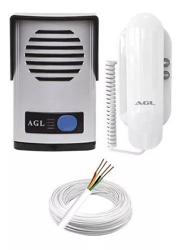 Kit interfone porteiro eletrônico agl p-100 + cabo 50 m.