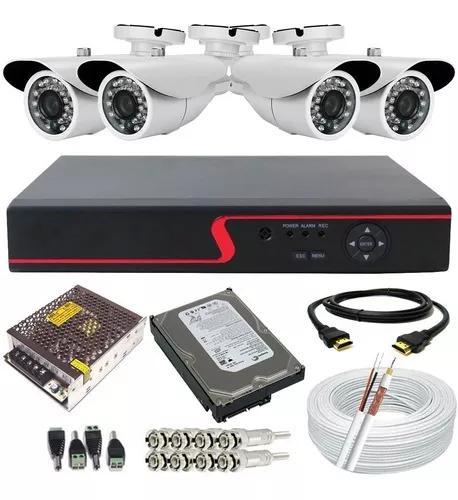 Kit segurança 4 câmeras digitais dvr multi hd 500g cabo