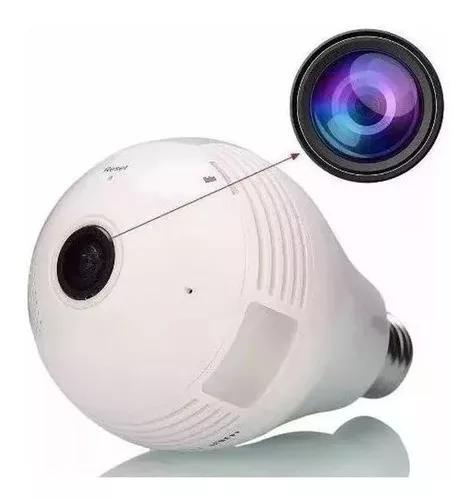 Lampada bulbo camera ip 360° hd espiao iphone android wifi