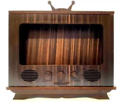 Suporte celular tv madeira vintage retrô amplificador de