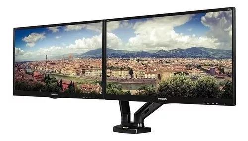 Suporte dois monitores articulado ajuste altura f180 usb